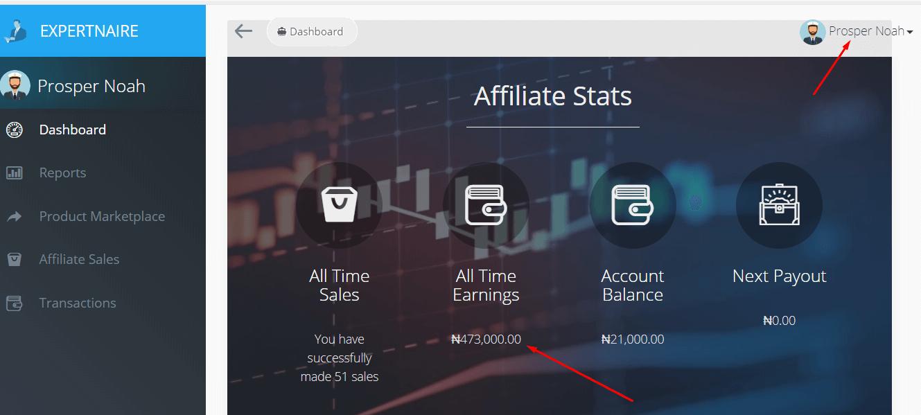 expertnaire earning screenshot